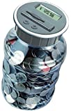 Digital Coin Bank Savings Jar - Automatic Coin Counter Totals all U.S. Coins including Dollars and Half Dollars - Original Style, Clear Jar