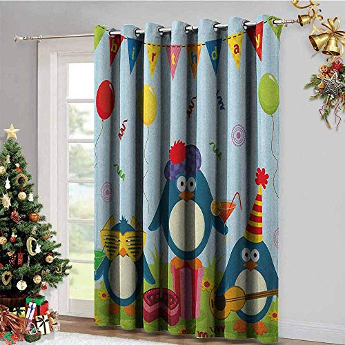 UNOSEKS LANZON Kids Birthday Bedroom Darkening Gromets Curtain, Cartoon Style Penguin Party with Flags Cakes and Surprise Box Soft Darkening Curtains, Pale Blue and Fern Green, W120 x L84 Inches -