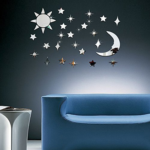ufengke 3D Sun Moon Stars Mirror Effect Wall Stickers Fashion Design Art Decals Home Decoration Silver