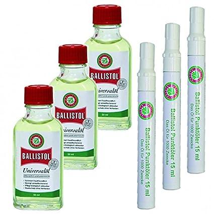 Ballistol aceite 3 x 50 ml botella de cristal y Ballistol punto Lubricador 3 x con