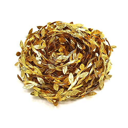 Lowki Double-Sided Printing Gold Olive Leaves Leaf Trim Ribbon DIY Craft and Decoration 33ft