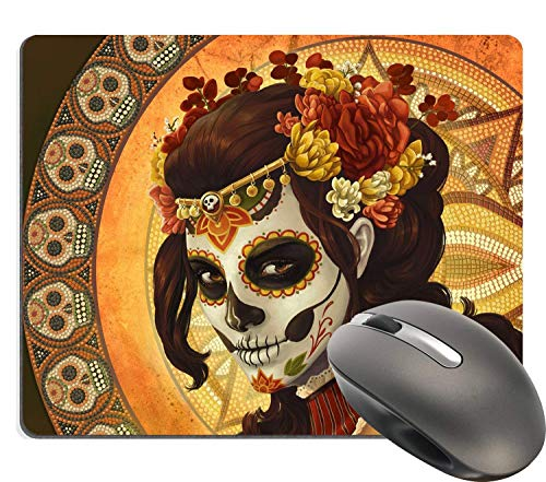 Day of The Dead Sugar Skull Girl Image Made for Rectangle Computer Game Mouse Pad Mat Cloth Cover Non-Slip Backing 25x30 cm ()