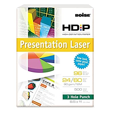 Boise HD:P 3-Hole Color Copy/Laser Paper, 96 Brightness, 24 lb, Letter Size (8.5 x 11), 500 Sheets (BPL-0111-P)