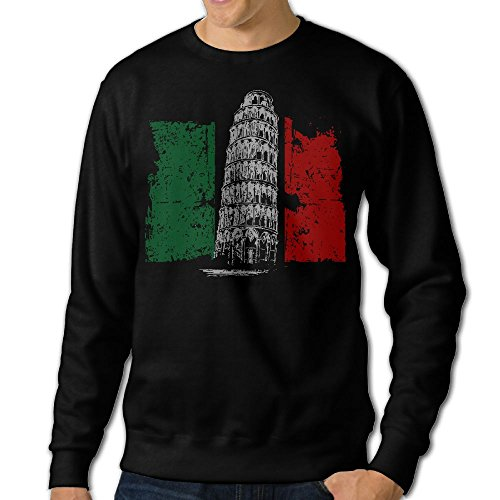 Fzouny-6 Men Tower Italian Flag Pullover Sweatshirt Sweaters (Italian Cotton Pants)