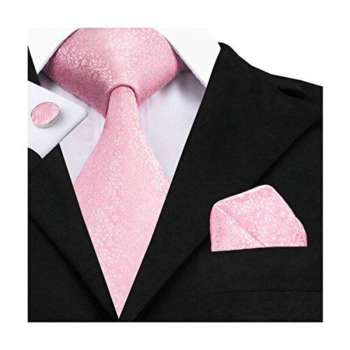 Hi-Tie Mens Pink Floral Silk Tie Hanky Cufflinks set (Novelty) (Novelty Mens Tie Clothing)