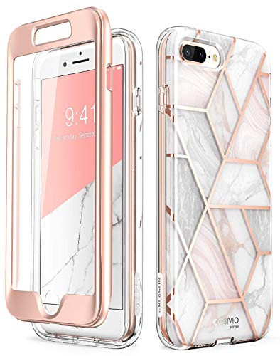 iPhone 8 Plus Case,iPhone 7 Plus Case, [Built-in Screen Protector] i-Blason [Cosmo] Glitter Clear Bumper Case for iPhone 8 Plus & iPhone 7 Plus (Marble) (Renewed)