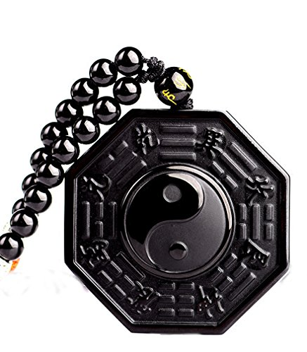 Jewelry Natural Black Obsidian Round Tai Chi Gossip Pendant Extend Bead Necklace