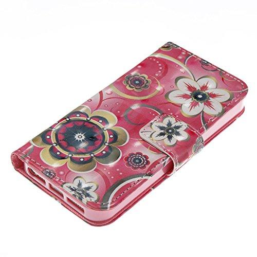 iPhone SE / 5 / 5S Coque Fleur de tulipe Portefeuille Fermoir Magnétique Supporter Flip Téléphone Protection Housse Case Étui Pour Apple iPhone SE / 5 / 5S + Deux cadeau