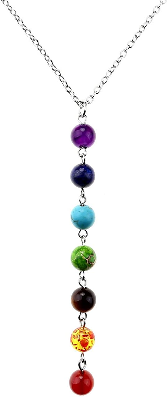 Jovivi 7Chakra de cristal amatista Natural piedras preciosas colgante collar con cadena de 22pulgadas de largo inoxidable