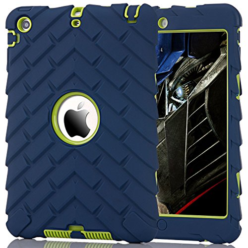 iPad Mini 2 Case, iPad Mini 3 Case, Hocase Rugged Anti-Slip Kids-Proof Hybrid Dual Layer Hard Silicone Rubber Bumper Shockproof Protective Case for Apple iPad mini/2/3 (7.9) - Navy Blue/Lime Green