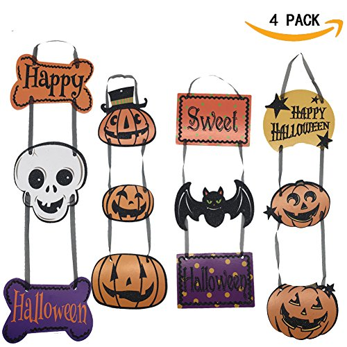 Happy Halloween Sign Hanging Welcome Tag for Wall Door Bar Hanging Bat Pumpkin Skull Decoration (Glitter Happy Halloween Sign)