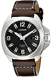 """Citizen Men's NB0070-06E """"Grand Touring Signature"""" Automatic Watch With Brown Leather Band"""