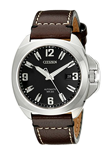 Citizen Men's NB0070-06E'Grand Touring Signature' Automatic Watch With Brown Leather Band