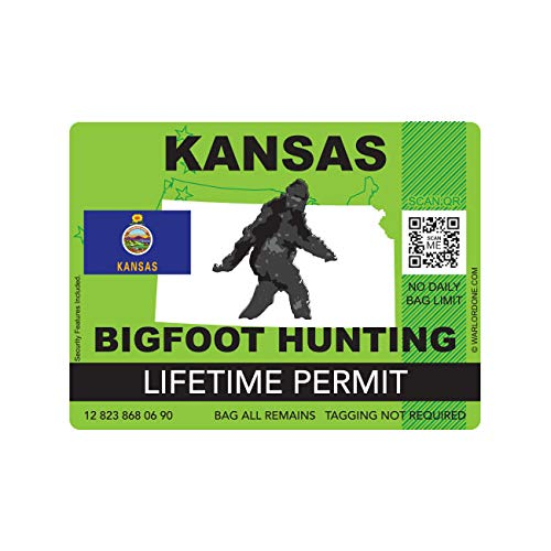 fagraphix Kansas Bigfoot Hunting Permit Sticker Die Cut Decal Sasquatch Lifetime FA Vinyl - 4.00 Wide