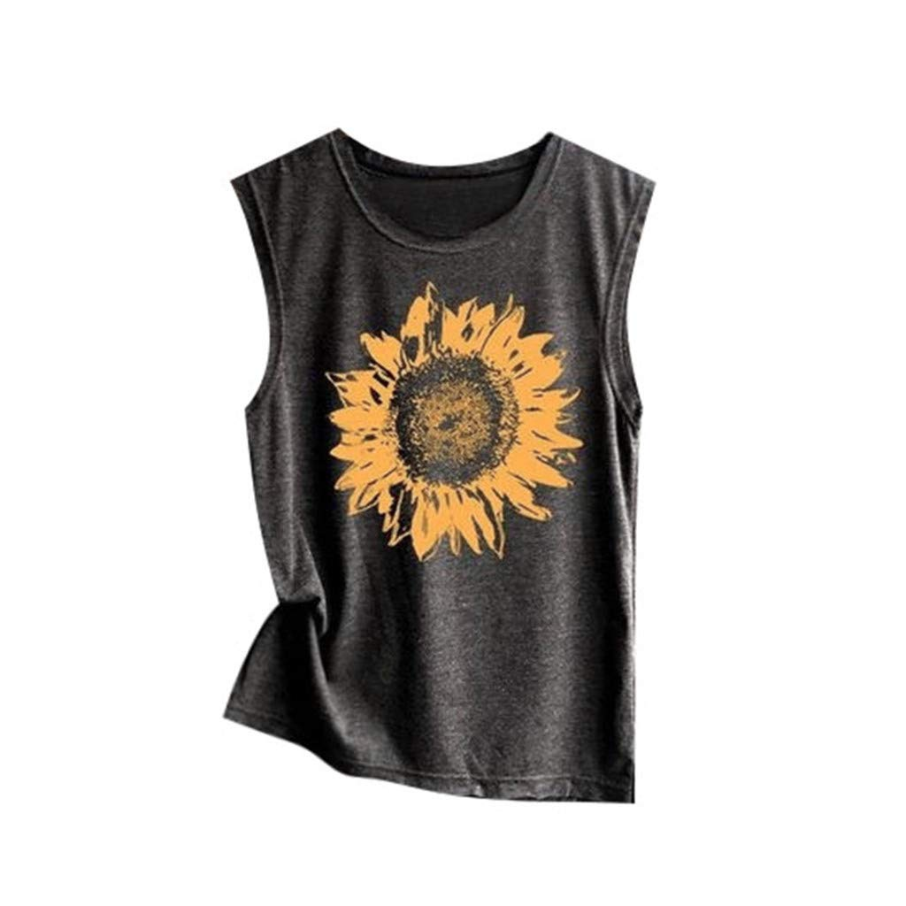Sanyyanlsy Sleeveless Basic Short Tank Tops Summer Casual Round Neck Vest Tee Blouse Sunflower Print for Women Tops