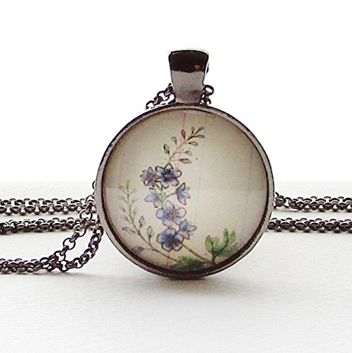 July Flower of the Month Larkspur Glass Pendant Necklace
