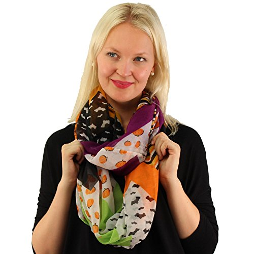 Harvest Pumpkin Halloween Bats Spiders Light Loop Circle Infinity Scarf (Halloween Scarves)