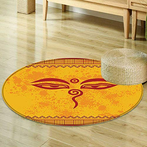 Mikihome Round Rug Kid Carpet Ethnic Grunge Decor Collection Traditional Eyes and Asian Tibetan Henna Design Accessories Paprika Yellow Red Home Decor Foor Carpe R-47 ()