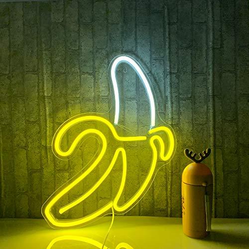 """Banana Neon Signs LED Neon Lights Art Wall Decorative Lights Neon Lights for Christmas Room Wall Kids Bedroom Birthday Party Bar Decor 11""""x19.7"""" (Warm Yellow Banana)"""