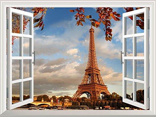 Removable Wall Sticker Wall Mural Eiffel Tower in autumn Paris France Creative Window View Wall Decor