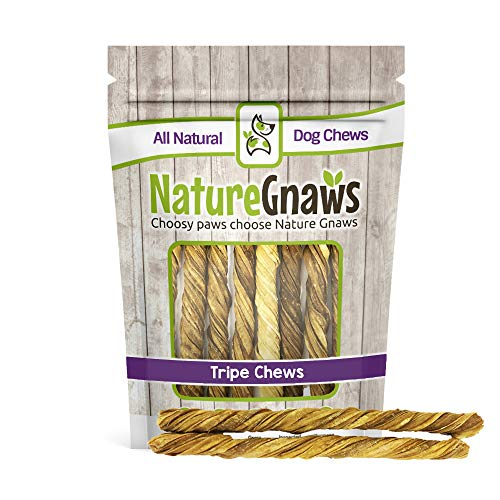 Nature Gnaws Tripe Twists 9-10 inch (10 Count) - 100% Natural Grass Fed Premium Beef Dog Chew Treats