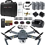 DJI Mavic PRO UPGRADE COMBO - Remote, Hard Case, 3 Batteries, Lens Filters, 64gb+16gb MicroSD, Sunshade, Charging Hub, Power Bank Adapter, Car Charger Bundle, Battery Bank, iPhone Cable & Mini Drone