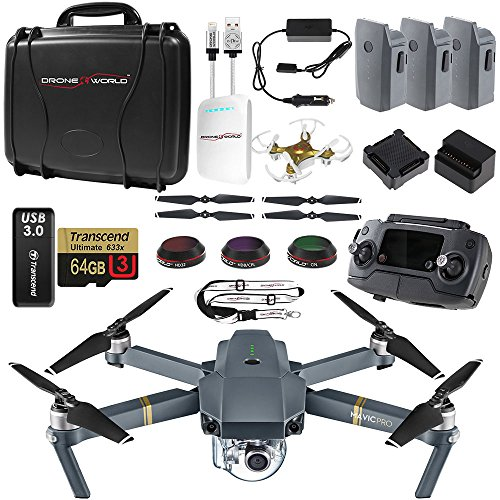 DJI Mavic PRO UPGRADE COMBO - Remote, Hard Case, 3 Batteries, Lens Filters, 64gb+16gb MicroSD, Sunshade, Charging Hub, Power Bank Adapter, Car Charger Bundle, Battery Bank, iPhone Cable & Mini Drone by Drone World