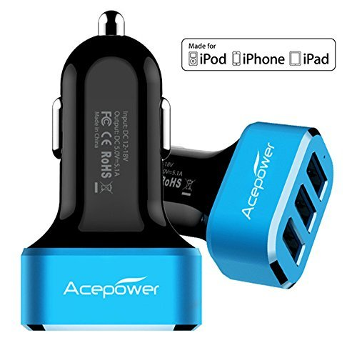 ACEPower 5.1A/26W 3 USB Port Aluminum Panel Compact Designed USB Car Charger for iPhone 8 7 / 6s / Plus, iPad Pro / Air 2 / mini, Galaxy S8 / S7 / S6 / Edge, Note 8 / 5 / 4, LG, Nexus, HTC and More