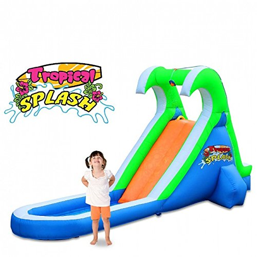 (Blast Zone Tropical Splash Compact Backyard Water Slide)
