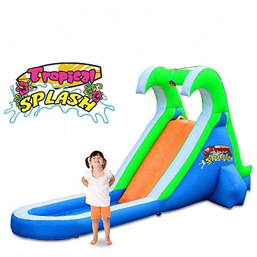 (Blast Zone Tropical Splash Compact Backyard Water Slide )