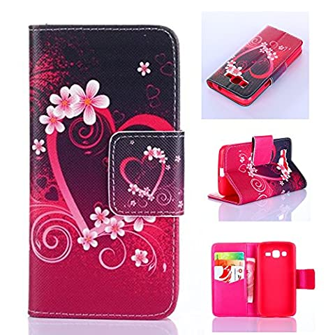 Galaxy Avant Case,IVY [Kickstand Flip Case] Galaxy Avant G386 Case [Red Love] Premium Soft TPU Synthetic Leather Flip Cover [Card],Wallet Case for Samsung Galaxy Avant G386T,Samsung Galaxy Core LTE 4G (Samsung Galaxy Core Lte Case G386)