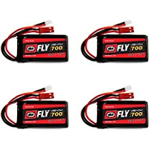 Venom Fly 30C 1S 700mAh 3.7V LiPo Battery with Micro Losi and JST Plug x4 Pack Combo