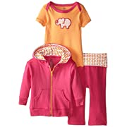 Yoga Sprout Infant 3 Piece Jacket, Top and Pant Set, Pink Elephant, 0-3 Months