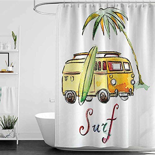 shower curtains purple Surfboard Decor Collection,Hand Drawn Surfing Car Summertime Seaside Traveling Vehicle Palm Tree Vacation Road Image,Soft Orange W72