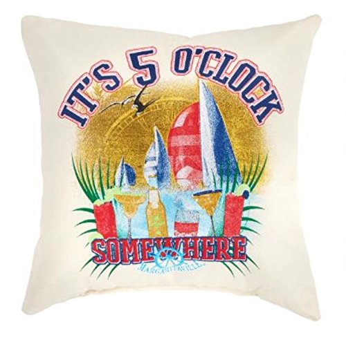 """Margaritaville """"It's 5 O'Clock Somewhere"""" Reversible All-Weather Tropical Pillow"""