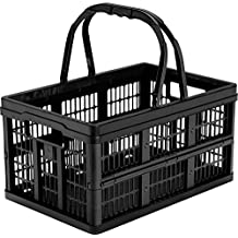 CleverMade CleverCrates Collapsible Storage Bin/Container: 16 Liter Shopping Basket/Grocery Tote, Black