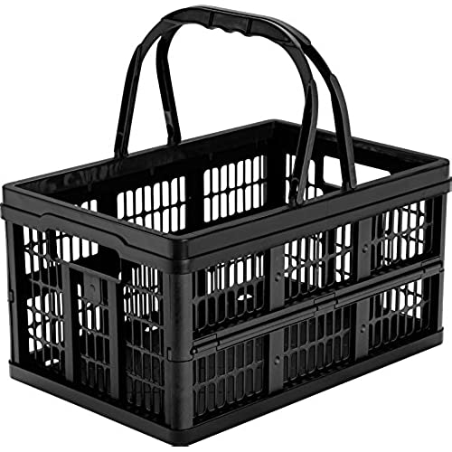 CleverMade CleverCrates 16 Liter Shopping Basket/Grocery Tote: Collapsible  Storage Bin/Container, Black