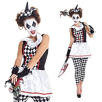 Amazon.com: Para mujer rojo y negro Evil Jester Joker ...
