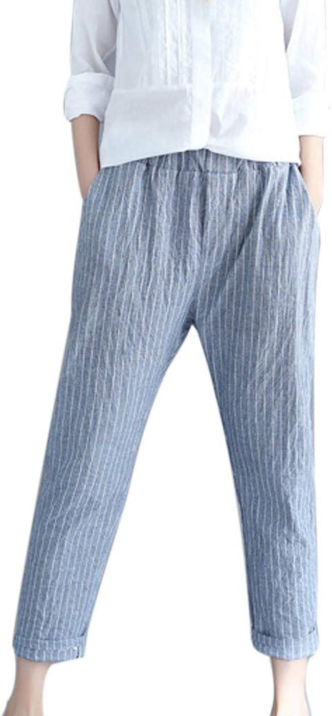 cinnamou Pantalones Mujer, Casual Pantalones Lino Ancho Rays ...