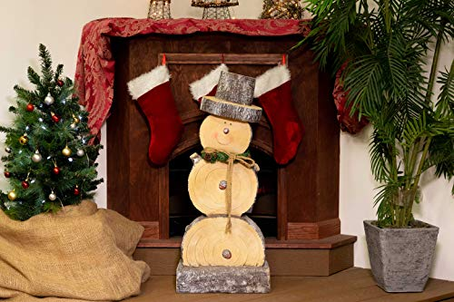 Alpine WTJ104L Wooden Snowman Statue, 38 Inch Tall, Small/16L x 9W x 38H, Light -