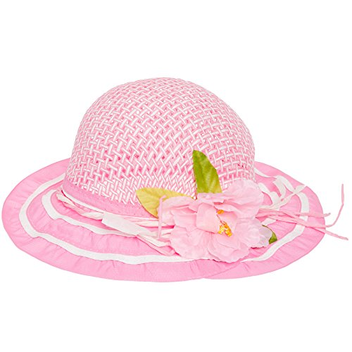 - 6 Pack Pink Cutie Collections Girls Tea Party Flower Costume Sun Hats (pink)