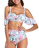 Tempt Me Women 2 Piece Off Shoulder Underwire Bandeau Floral Printed Bikini Top with High Waisted Bottom Blue L