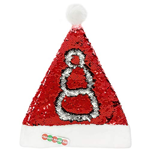 Rhode Island Novelty Holiday Christmas Flip Sequin Santa Hat (Silver/Red) -