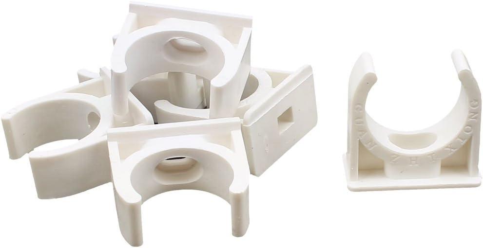 sourcingmap 6 St/ück 25mm Durchmesser Wei/ß PVC Wasserrohr Schlauchanschluss Klammern Clips DE de