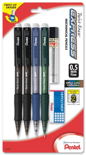 Pentel Twist Erase Mechanical Assorted QE415LZBP4 product image