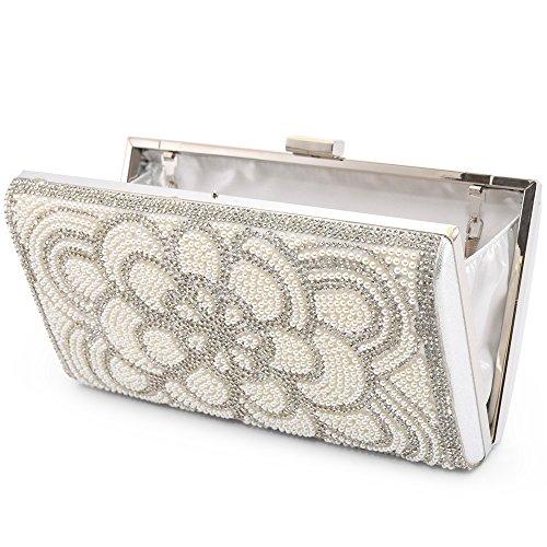 Women's Clutch Evening Bag Elegant Artificial Pearls Beaded Shoulder Bags Handbag Purse