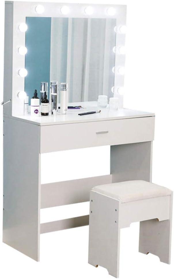PLDDY Tocador Blanco con Luces LED Espejo y Taburete Muebles de Dormitorio Mesa de Maquillaje cosm/ética para ni/ñas de 1 caj/ón