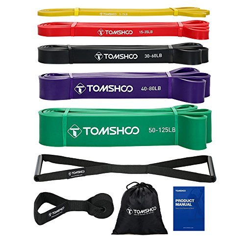 TOMSHOO 5 Packs Pull up Assist Bands, Resistance Bands with Straps Handles and Door Anchor, Stretch Bands,Exercise Bands with Guide for Fitness