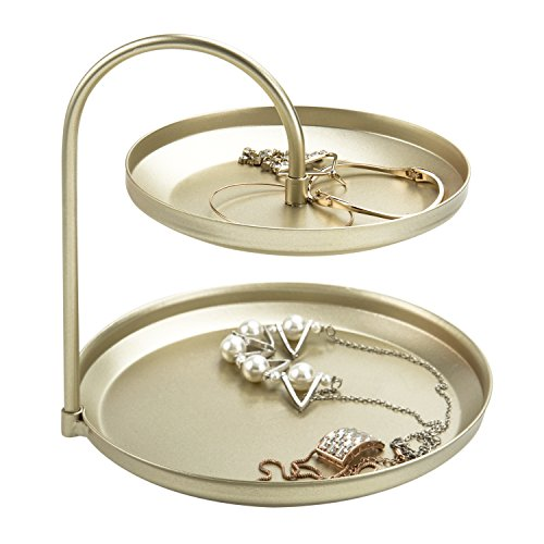 MyGift 2-Tier Brass-Tone Metal Jewelry Display Stand, Cosmetic Organizer Tray by MyGift