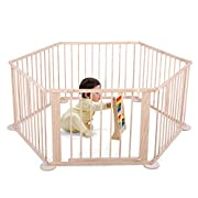 JAXPETY Baby Playpen Kids Safety 6 Panels Play Center Yard Home Indoor Outdoor New Pen (6, wood)